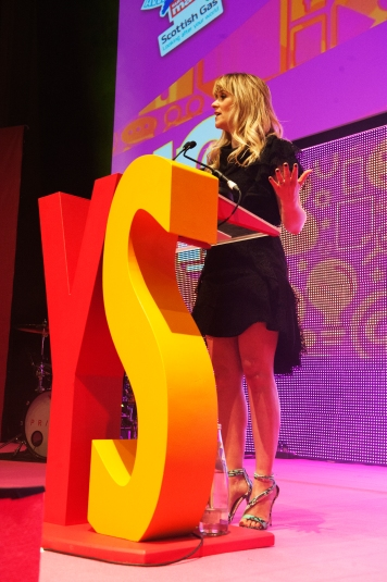 FOR SUNDAY MAIL Edith Bowman on stage. Young Scot Awards 2015, Usher Hall, Edinburgh.. FEE PAYABLE FOR ALL INTERNET USE All money payable:- Mark Anderson Flat 2/2 Glasgow G41 3HG